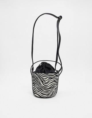 French Connection zebra print bucket bag