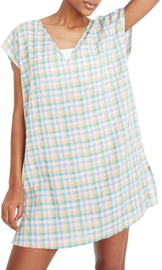 Madewell Pastel Gingham Cover-Up Tunic Dress