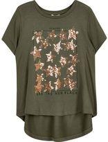 River Island Mini girls Khaki sequin T-shirt
