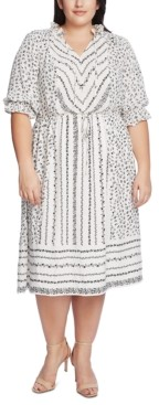 CeCe Plus Size Ruffle-Sleeve Mixed-Print Dress