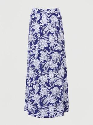 Very Petite Wrap Jersey Maxi Skirt - Navy/Print