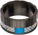 FINE JEWELRY Mens Black and Blue Stainless Steel and Carbon Fiber Wedding Band