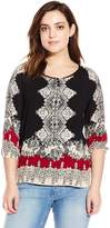 Angie Junior's Plus-Size Printed Raglan Sleeve Top