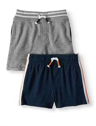 Garanimals Baby Boy French Terry & Knit Side-Stripe Shorts, 2pc Multi-Pack