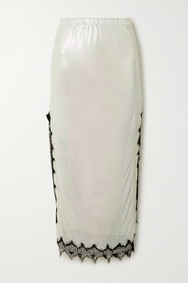 Christopher Kane Lace-trimmed Chainmail Midi Skirt - Cream
