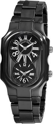 Philip Stein Teslar Women's 2CB-MB-CB Signature Black Calfskin Ceramic Metal Watch