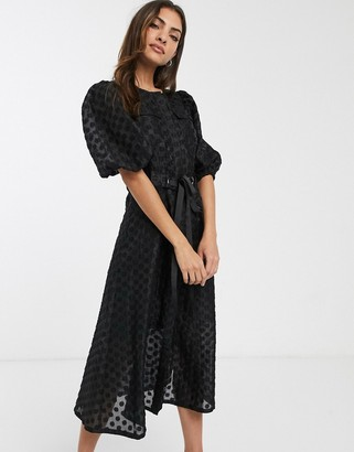 ASOS DESIGN dobby organza midi dress with puff sleeves and belt in black