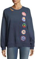 Vintage Havana Retro Patch Cutout Sweatshirt