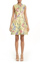Monique Lhuillier Women's Garden Print Lace Fit & Flare Dress