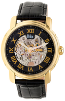 Reign Kahn Automatic Skeleton Dial Leather Watch, 45mm