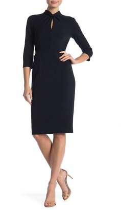Donna Morgan Crepe Sheath Midi Dress
