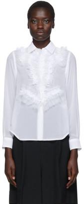 Comme des Garcons White Georgette Ruffle Detail Shirt