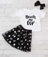 Dress Up Dreams Boutique Girls' Tee Shirts White/Black - White & Black 'Beach Me Up' Crewneck Tee Set - Toddler & Girls