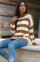 Honey Punch Stripe Mock Neck Pullover Sweater