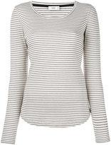 Closed scoop neck striped T-shirt - women - Cotton/Modal - M