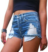 Qiyuxow Women's Juniors Distressed Cut Off Ripped Jean Shorts High Waisted Denim Shorts (S, )