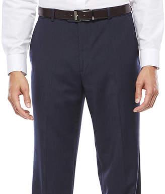 STAFFORD Stafford Travel Wool Blend Stretch Navy Pinstripe Flat-Front Dress Pants - Classic Fit