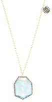 Meira T 14K Two-Tone Gold, Blue Topaz & 0.65 Total Ct. Diamond Long Pendant Necklace