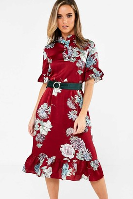 iClothing Hebe Floral Print Shirt Dress in Wine
