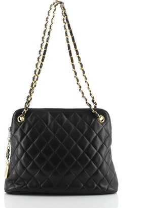 Chanel Zip Chain Shoulder Bag Quilted Leather Medium