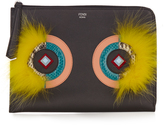 Fendi Leather and fur pouch
