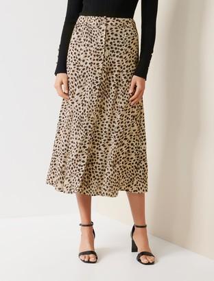 Forever New Alyssa Button-Front Midi Skirt - Serval Animal Spot - 4
