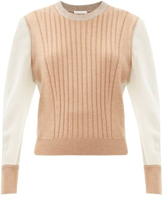 Chloé Silk-sleeve Ribbed Wool Sweater - Light Brown