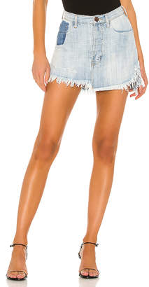 One Teaspoon Vanguard Mid Rise Relaxed Denim Mini Skirt.