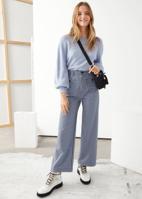 And other stories Kick Flare Plaid Trousers