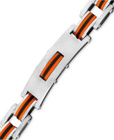 Macy's Men's Stainless Steel and Rubber Bracelet, Rectangle Link Bike Chain