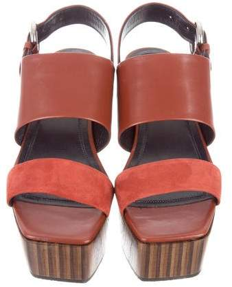 Celine Leather & Suede Wedge Sandals w/ Tags