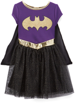 Jerry Leigh Batgirl Purple & Black Emblem Dress - Kids