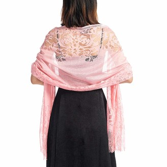 ACVIP Women's Hollow Out Lace Shawl Pashmina Wedding Party Bridal Wrap Stole Scarf with Tassel (Pink)