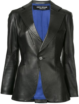 Slim-Fit Leather Blazer