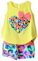 ACEFAST INC Baby Girls Kids Love Print Sleeveless T-shirt Flower Shorts