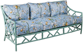 Kit Sofa - Celadon/Lemons Sunbrella - frame, celadon; upholstery, light blue, yellow, sage green, white, navy lemons print