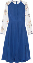 Nina Ricci Embroidered tulle-trimmed silk-satin dress