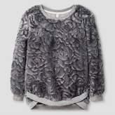 Xhilaration Girls' Faux Fur Pullover Top Gray L