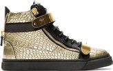 Giuseppe Zanotti Gold Croc-Embossed High-Top Sneakers