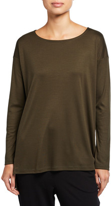 Eileen Fisher Lyocell Side Slit Long-Sleeve High-Low Tunic