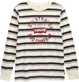Levi's Kids' Stripe Long Sleeve Logo Graphic Tee