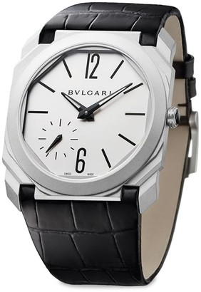 Bvlgari Octo Steel & Leather Strap Watch