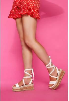 Quiz White Flatform Sandals
