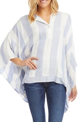 Karen Kane Stripe Handkerchief Hem Top