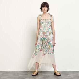 Sandro Long pleated print dress