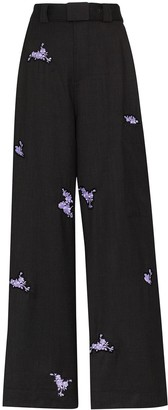 Ganni Floral-Embroidered Trousers