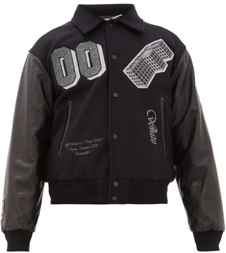 Off-White Logo-patch Leather-sleeved Varsity Jacket - Black Grey
