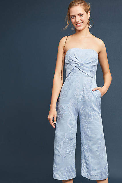 Aijek Natalie Embroidered Wide-Leg Jumpsuit