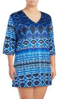 J Valdi Plus Three-Quarter V-Neck Cover-Up