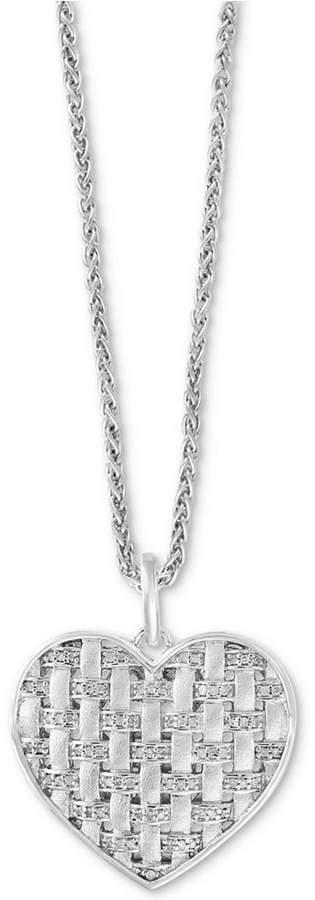 "Effy Diamond Woven Heart Pendant 18"" Necklace (1/3 ct. t.w.) in Sterling Silver"